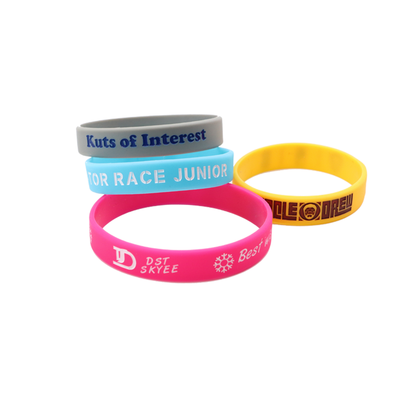 Skyee Hot sale debossed filled one color ink silicone wristband for promotion of company