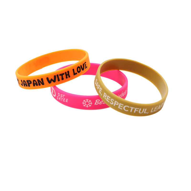 Skyee 2019 New product debossed color filled in silicone bracelet