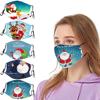 Custom print logo adjustable cute cloth chrismas face mask